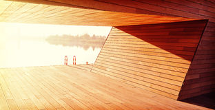 Wooden construction background, shelter by the river. Stock Photos