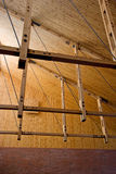 Wooden construction details. Wooden ceiling construction in the brand new building Royalty Free Stock Photos