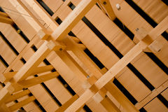 Wooden construction details. Wooden ceiling construction details in the brand new building Royalty Free Stock Image