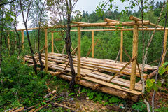 Wooden construction in forest Stock Image