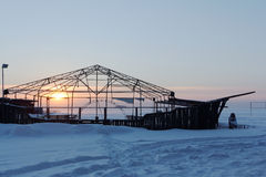 Wooden construction in the form of the ship on snow Royalty Free Stock Photography