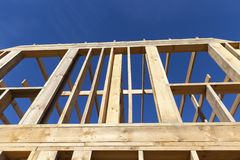 Wooden construction house royalty free stock photo