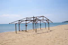 Wooden construction of hut on beach Stock Photo