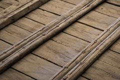 Wooden construction of an old ship deck, wood flooring.  stock images