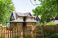 Wooden construction residential house, Zakopane Stock Photo
