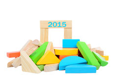 Wooden construction toy 2015 Royalty Free Stock Images