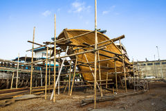 Wooden construction of yacht boat Stock Image