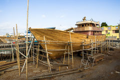 Wooden construction of yacht boat Royalty Free Stock Photography