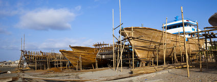 Wooden construction of yacht boat Stock Photo