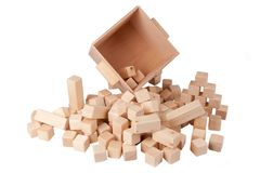 Wooden container and cubes Stock Photography