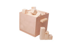 Wooden container and cubes Royalty Free Stock Image