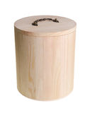 Wooden container and pot for rice storage on background Royalty Free Stock Photos