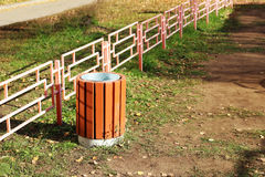 Wooden container for rubbish, outdoor object Royalty Free Stock Photos