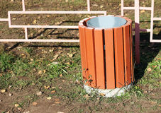Wooden container for rubbish, outdoor object Royalty Free Stock Images