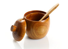 Wooden container for sugar Stock Image