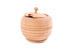 Wooden container for sugar Stock Photo