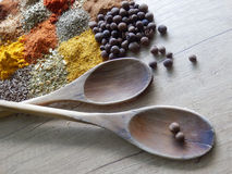 Wooden cooking spoons  and set of spices Royalty Free Stock Images