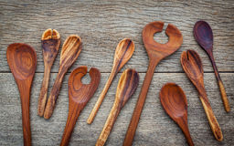 Wooden cooking utensils border wooden spoons, spatula , wooden f Royalty Free Stock Images