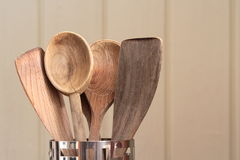 Wooden cooking utensils, close up. Royalty Free Stock Photos