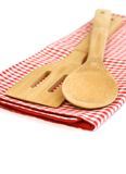 Wooden cooking utensils isolated on white Royalty Free Stock Photo