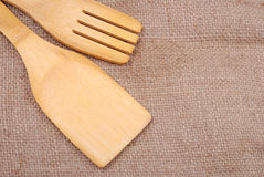 Wooden cooking utensils on a sackcloth Royalty Free Stock Photo
