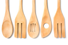 Wooden cookware. Isolated on white background stock photography