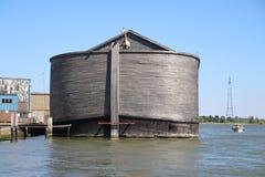 Wooden copy of Noah`s Ark in the harbor of Krimpen aan den IJssel, heavy damaged by winterstorm