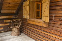 Wooden Corner. On a terrace of a chalet Stock Image