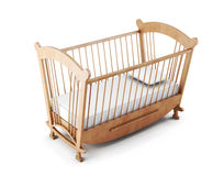 Wooden cot bed  on white background. 3d rendering Royalty Free Stock Photography
