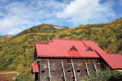 Wooden cottage. In an autumn landscape, nagano japan Royalty Free Stock Image