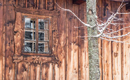 Wooden cottage. S in open-air musem at Zuberec, Slovakia stock photo