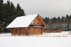 Wooden cottage in forest in winter Royalty Free Stock Photo