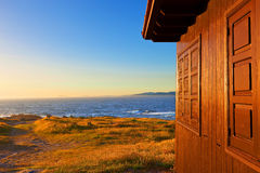 Wooden cottage in Galicia sheashore Royalty Free Stock Images
