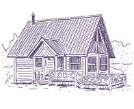 Wooden cottage. House simple vector drawing Royalty Free Stock Images