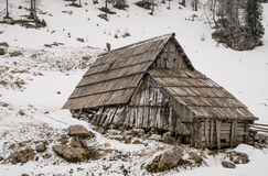 Wooden cottage on meadow in Julian Alps Stock Image