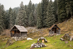Wooden cottage on meadow in Julian Alps Stock Photography