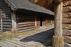 Wooden cottage. Reconstruction of a cottage in Sorb settlement, Archaeological Museum in Biskupin, Poland. Photo taken on August 14th, 2009 Stock Photos