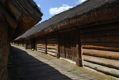 Wooden cottage. Reconstruction of a cottage in Sorb settlement, Archaeological Museum in Biskupin, Poland. Photo taken on August 14th, 2009 Royalty Free Stock Image