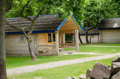 Wooden cottage of recreation park in summer time Royalty Free Stock Photography