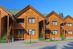 Wooden cottage in the resort Bukovel Royalty Free Stock Image