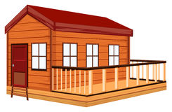 Wooden cottage with terrace. Illustration Stock Photography