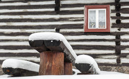 Wooden cottage in village Vlkolinec, Slovakia Stock Image