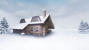 Wooden cottage at winter landscape with trees Royalty Free Stock Image