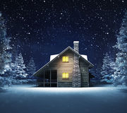 Wooden cottage in winter snowy woods Stock Photo