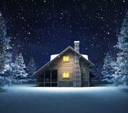 Wooden cottage in winter snowy woods. Blue seasonal landscape background 3D illustration Stock Photo
