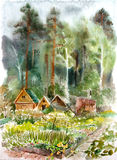 Wooden cottages. In forest. Watercolor stock illustration