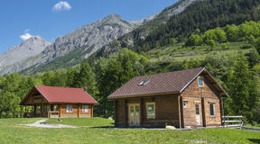 Wooden cottages in the Alps Stock Photo
