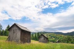 Wooden cottages in a line on a blooming meadow Stock Photo