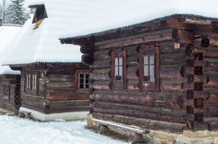 Wooden cottages in Zuberec, Slovakia. Wooden cottages in open-air musem at Zuberec, Slovakia stock photography