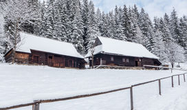 Wooden cottages in Zuberec, Slovakia Royalty Free Stock Photo